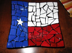 "8"" Fused Glass Texas Birdbath"